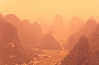 Karst landscape and morning haze, Yangshuo, Guangxi Province, China, Asia