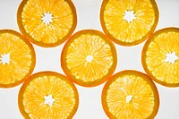 Orange slices on white background