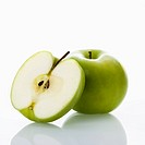 Still life of green apples on white background (thumbnail)