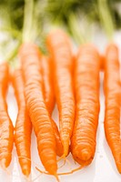 Bunch of orange carrots with green tops on white background (thumbnail)