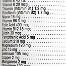 Close up of supplement label with amount of vitamins