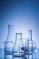 Glass science containers with blue tint