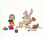 Rabbit With Dhama Doll (thumbnail)
