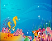 Multicolored, sea, underwater, undersea, ocean, background (thumbnail)