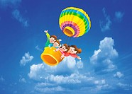 Children In Hot Air Balloon