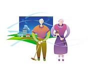 Elderly Couple Playing Croquet