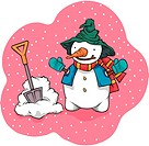 scarf, outdoors, gloves, hat, shovel, snow_covered