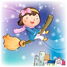 Broomstick, snow, flying, smiling, chirstmas, winter (thumbnail)