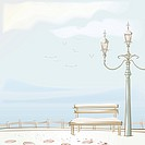 Sky, streetlamp, seagull, sea, fence, snow (thumbnail)