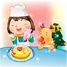 cake, snow, baking, cook, chirstmas, winter