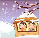 holding, snow, couple, boy, girl, child