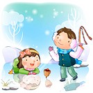 boy, winter, girl, chirstmas, snow, child