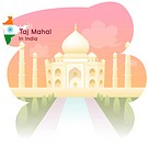 national flag, TajMahal, map, travel, tourism, sightseeing, india