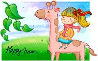 purity, fairy tale, riding, giraffe, child, nature