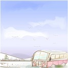 tree, season, hill, snow, winter, bus, background