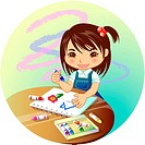Holding, sketchbook, round table, pastel crayon, sketching, student (thumbnail)