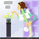 Flower, shopping bag, fashion, young woman, bag, shoppers (thumbnail)