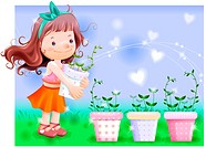 grass, fairy tale, flowerpot, holding, sprout, nature