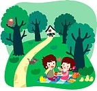 cat, couple, forest, outdoor, picnic, lover