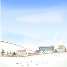 Village, season, hill, snow, winter, tree, background (thumbnail)