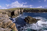 Rocky coast of Mainland with Yesnaby castle, a sea stack, Mainland, Orkney Islands, Scotland, United Kingdom, Europe