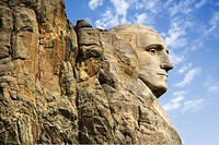 Profile of George Washington carving at Mount Rushmore National Monument, South Dakota