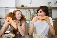 Caucasian couple having a meal, Front View, Side View