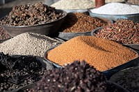 Various grains, spices and food stuffs on sale in Atbara Souq, Sudan, Africa