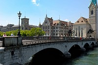 Munster bridge over River Limmat, Zurich, Switzerland, Europe
