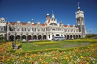 Spring Flowers and Historic Railway Station, Dunedin, Otago, New Zealand