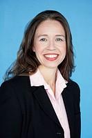 Porträtt av leende affärskvinna i dräkt. Portrait Of Smiling Businesswoman In A Costume