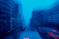 Blurry Street In Blue