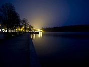 Drottningholmsparken, Drottningholm Park By Lake At Night