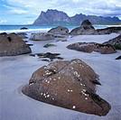 Sandstrand Med Stora Stenar Och Bersgsklippor I Havet, Lofoten, Side View Of Sandy Beach