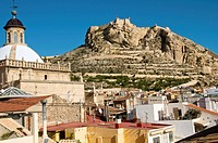 Co-cathedral of St. Nicholas of Bari on the left and castle of Santa Barbara in background, Alicante. Comunidad Valenciana, Spain