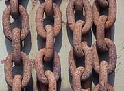 Fyra Grova Och Rostiga Kättingar, Close_Up Of Rusty Chains