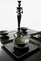 Bowls and a showpiece on a table