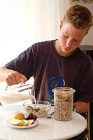 Boy eating muesli