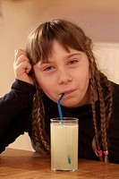 Girl drinking lemonade