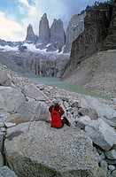 Woman at Torres del Paine Patagonia Chile