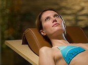 Woman resting in a health spa