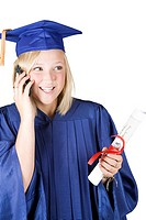 Graduating girl on cellphone