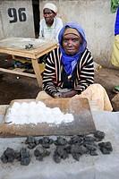 Woman selling salt on the market, Ruhengeri, Rwanda, Africa