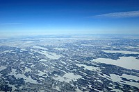 Aerial view of the continental shelf and the tundra , Northwest Territories, Canada