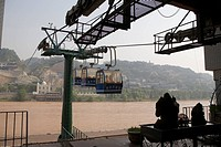 Gondolas acrossing the Yellow River, Lanzhou, China