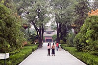 Tourists visiting the Beilun Museum, Xian, China