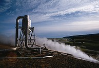 HARNESSING GEOTHERMAL ENERGY from superheated steam vents. Iceland