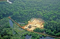 Logging camp from the air, in Eastern Gabon