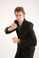 young business man in boxing position