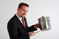 young business man with cooking pots